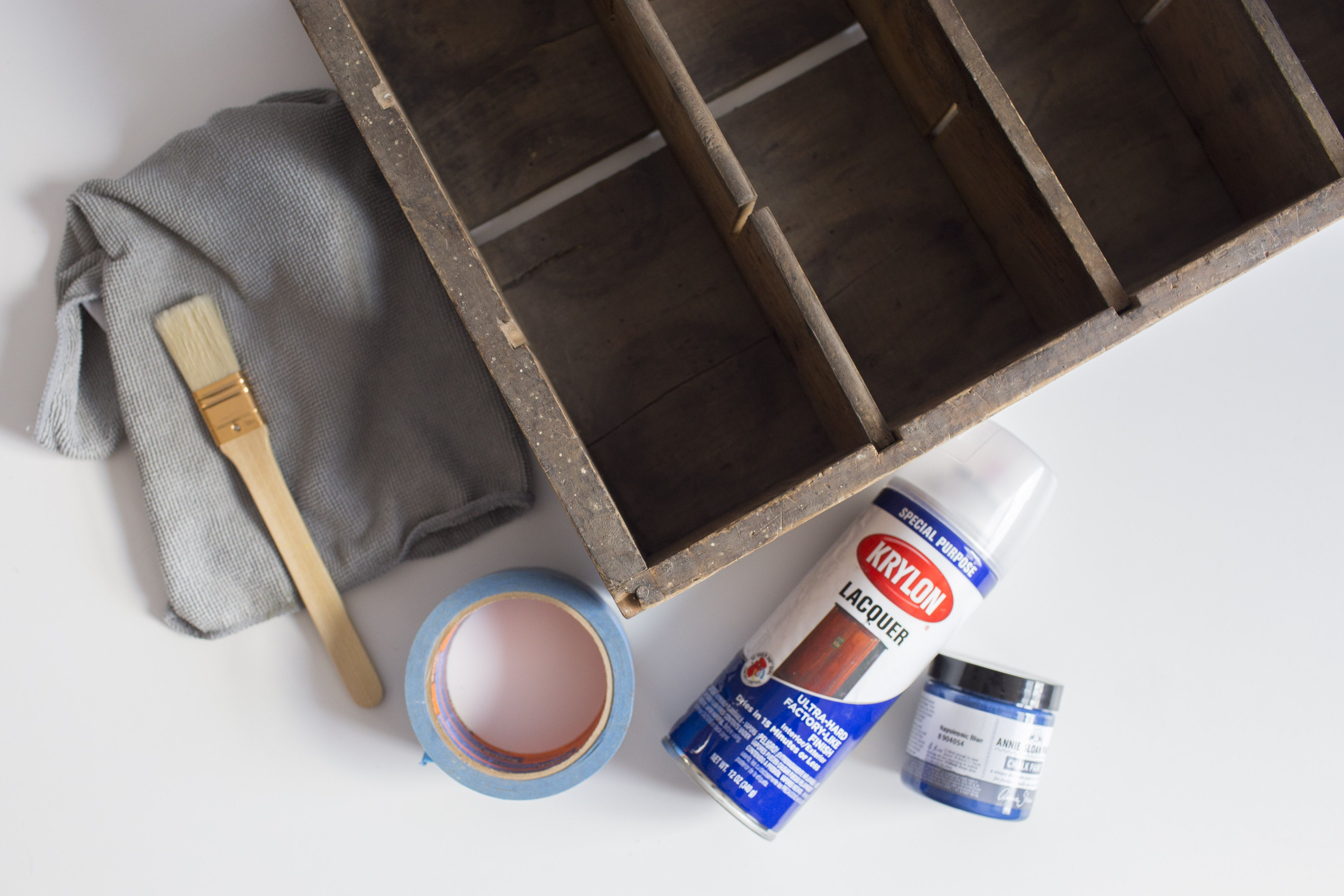 Materials needed to spruce up a wooden crate