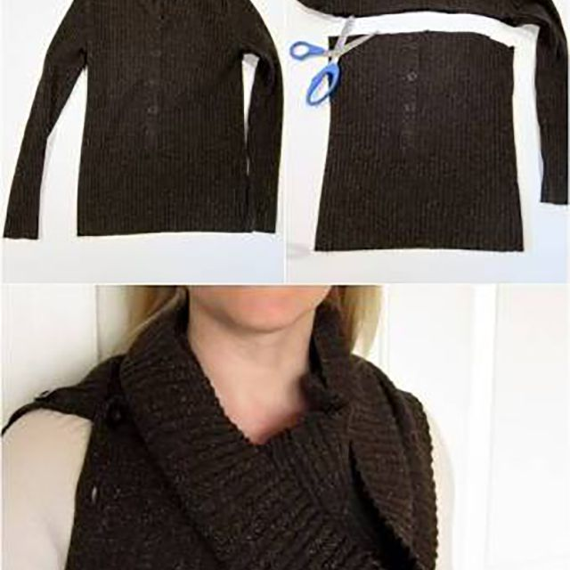 diy scarf from old sweater