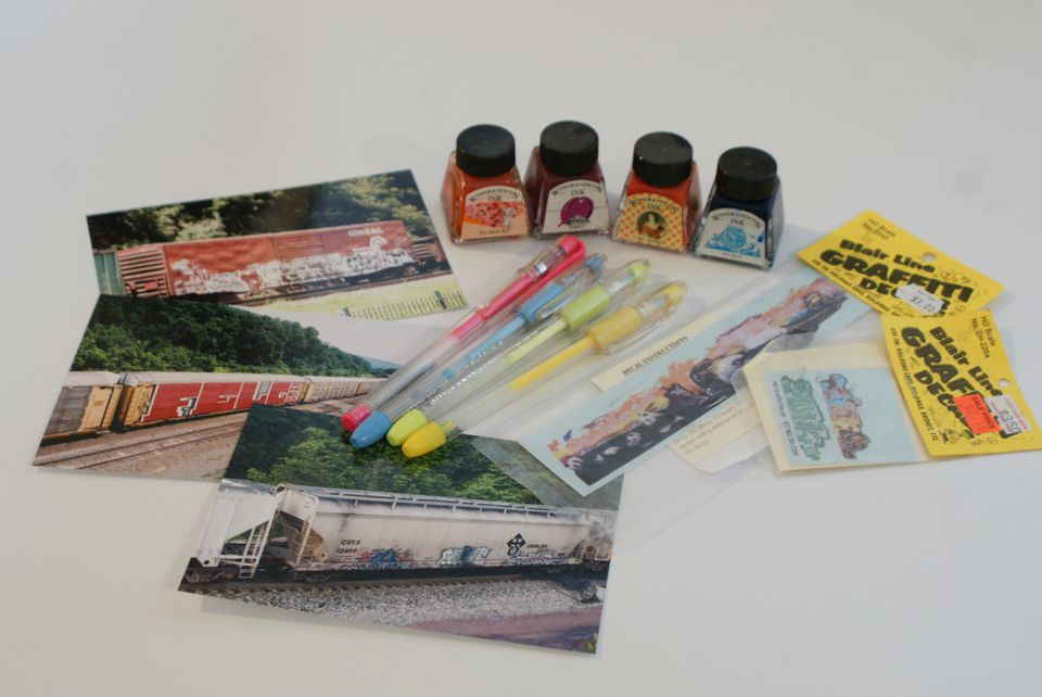 Decals, gel pens, and inks to recreate graffiti