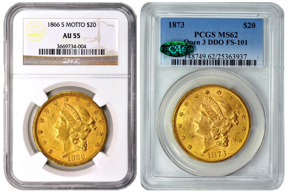 an example of an NGC and a PCGS encapsulated coin holder