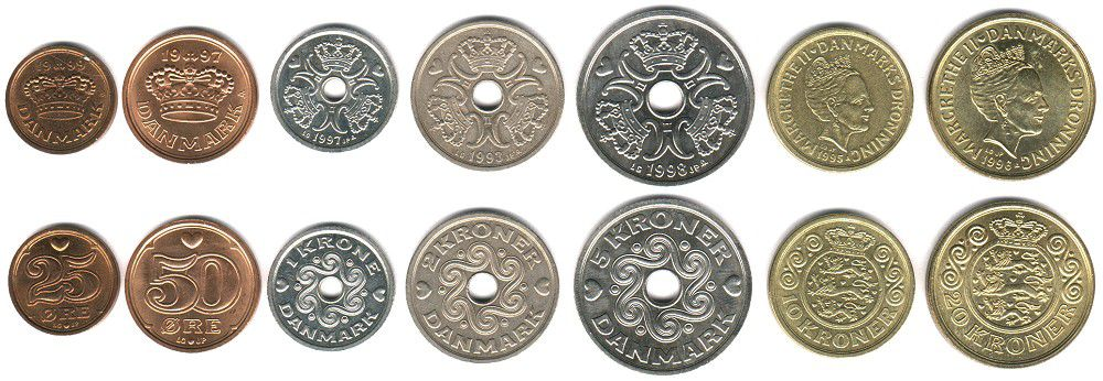 These coins are currently circulating in Denmark as money.