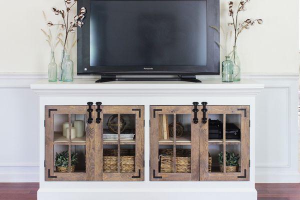 A farmhouse style media cabinet