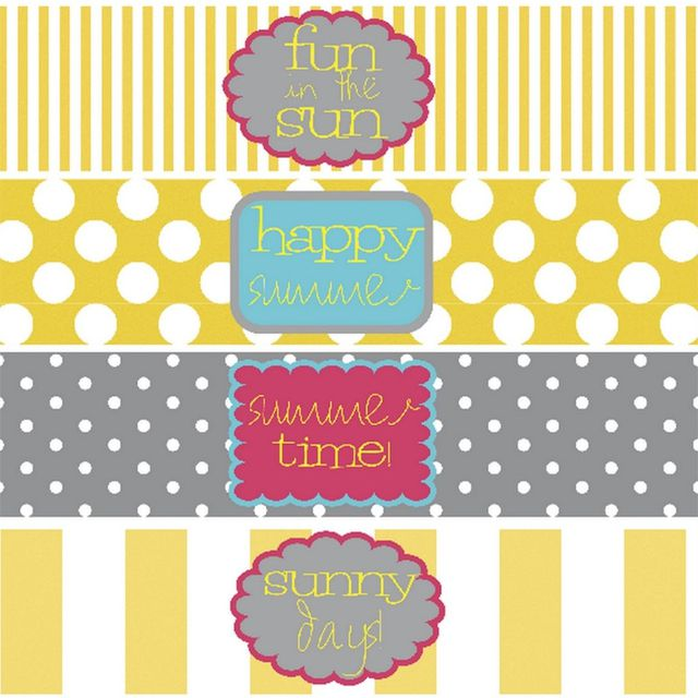 Summer water bottle labels in gray and yellow.