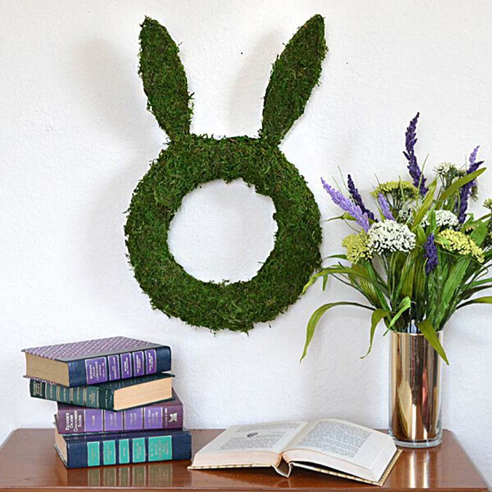 DIY Bunny Shaped Moss Covered Wreath