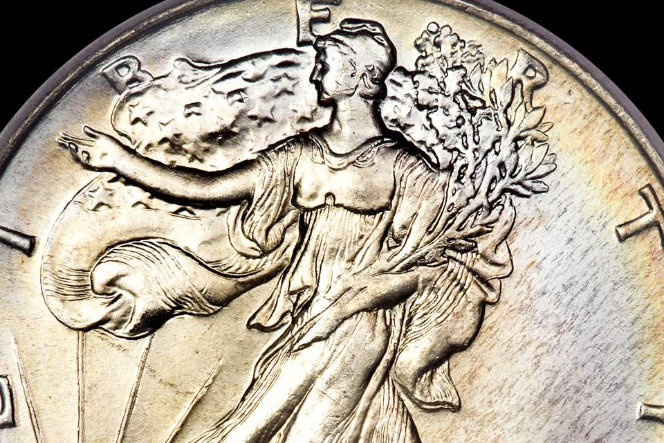 Walking Liberty Half Dollar close up obverse