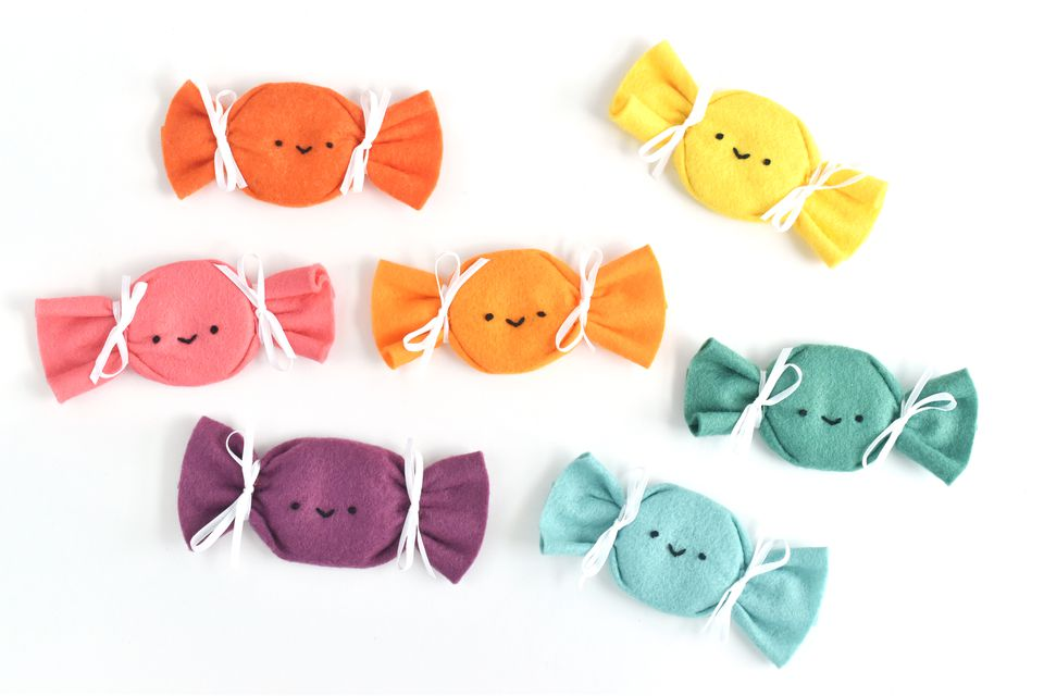 Colorful Felt Pattern Weights Shaped Like Candy