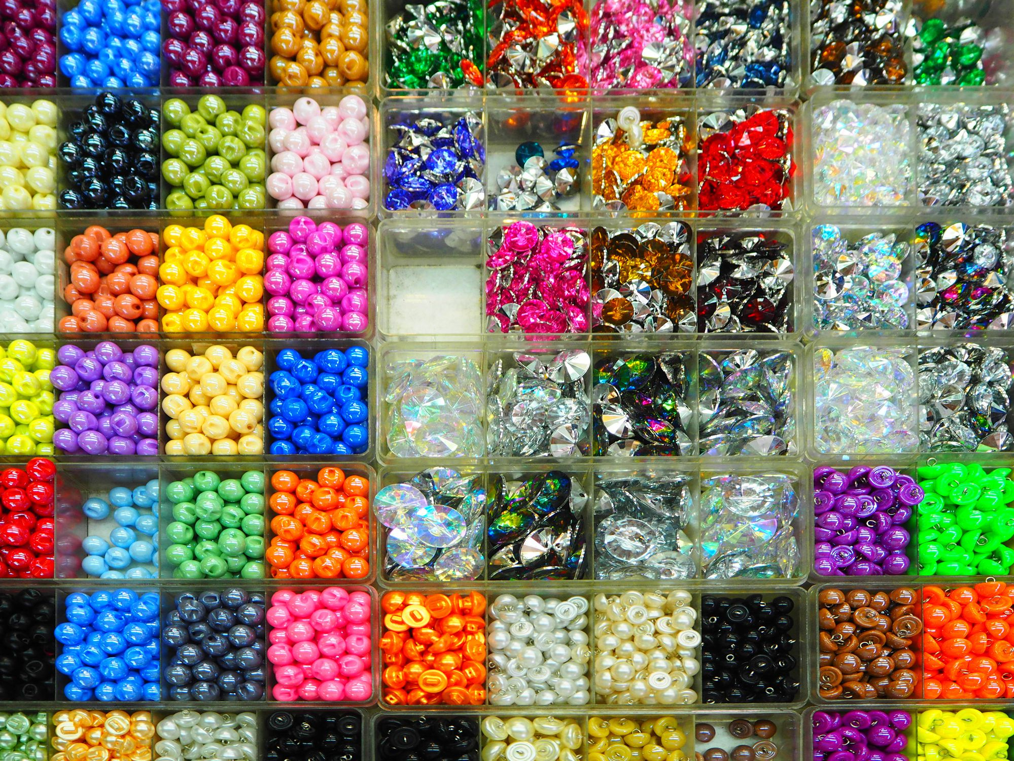 Full Frame Shot of Multi Colored Beads for Sale In Market
