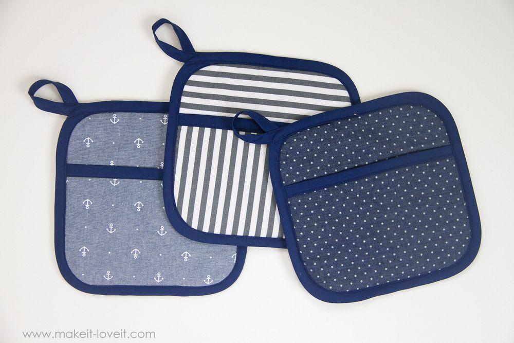 Three blue hot pads
