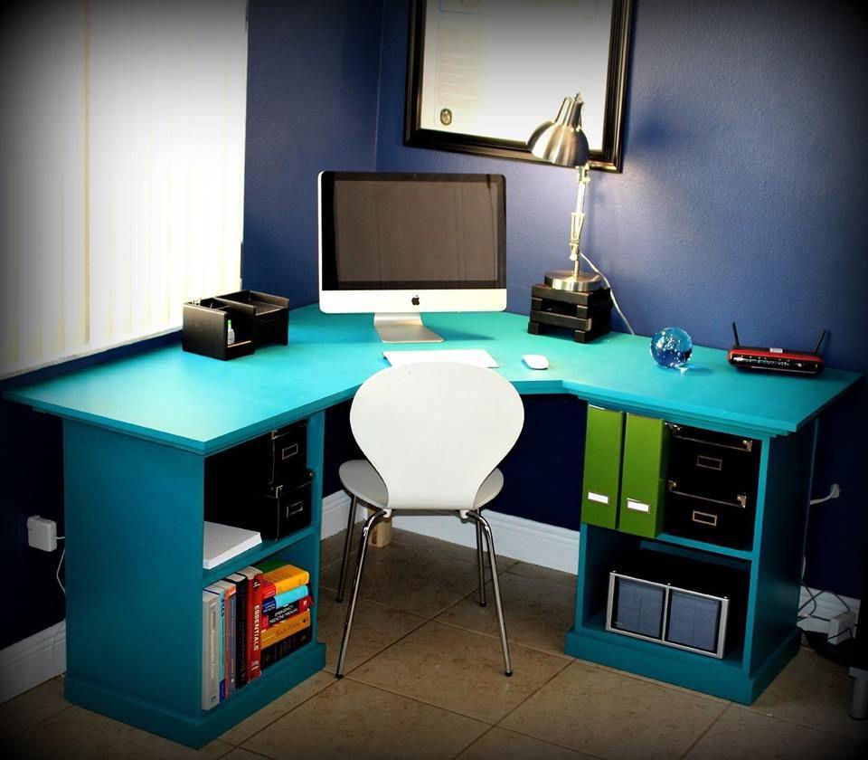 A Blue Computer Desk