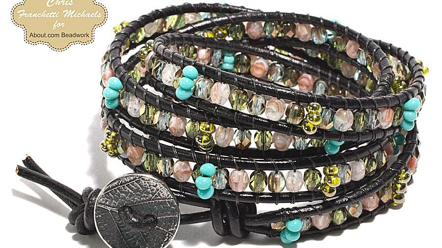 Leather Wrap Bracelet Pattern With Czech Glass Beads