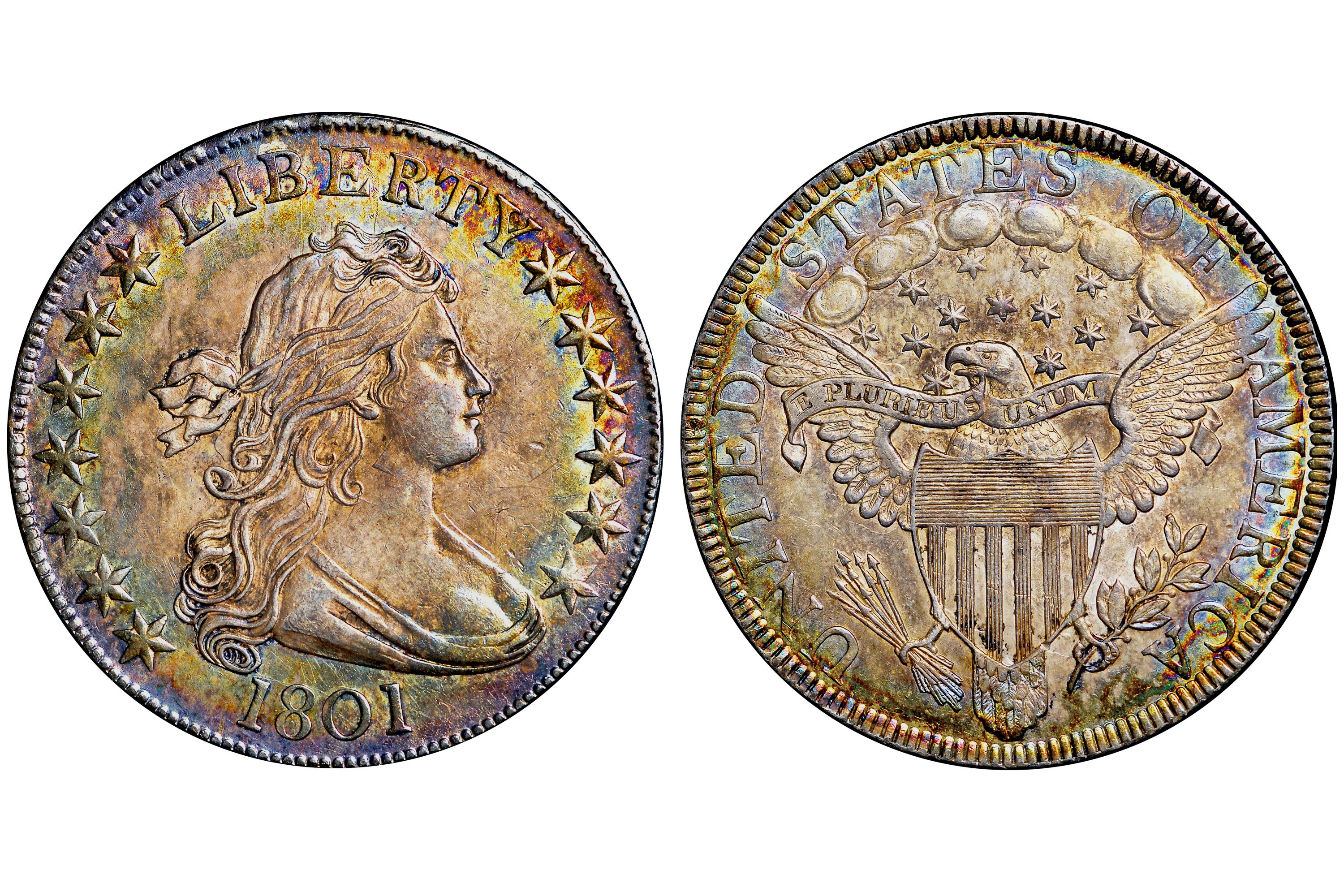 1801 Draped Bust Half Dollar graded MS-64 by NGC
