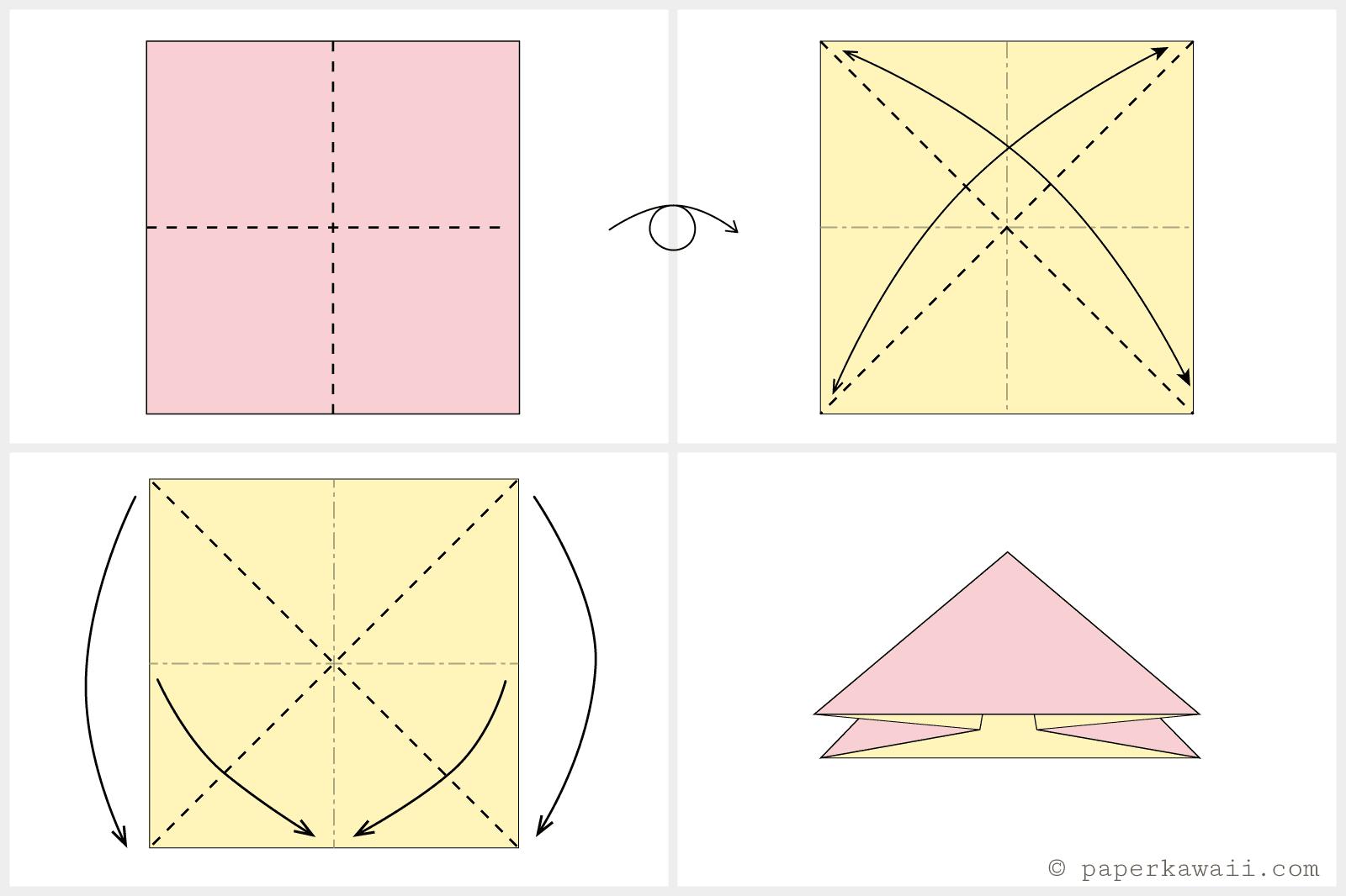 Origami tulip and stem folding diagram