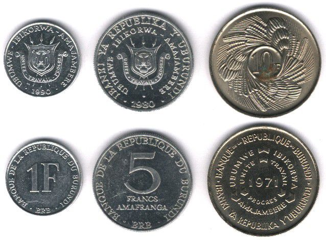 These coins are currently circulating in Burundi as money.