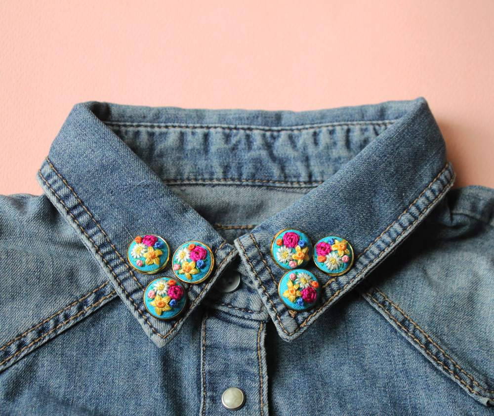 Embroidered Floral Collar Pins