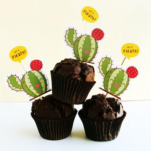 DIY Cactus Cupcake Toppers