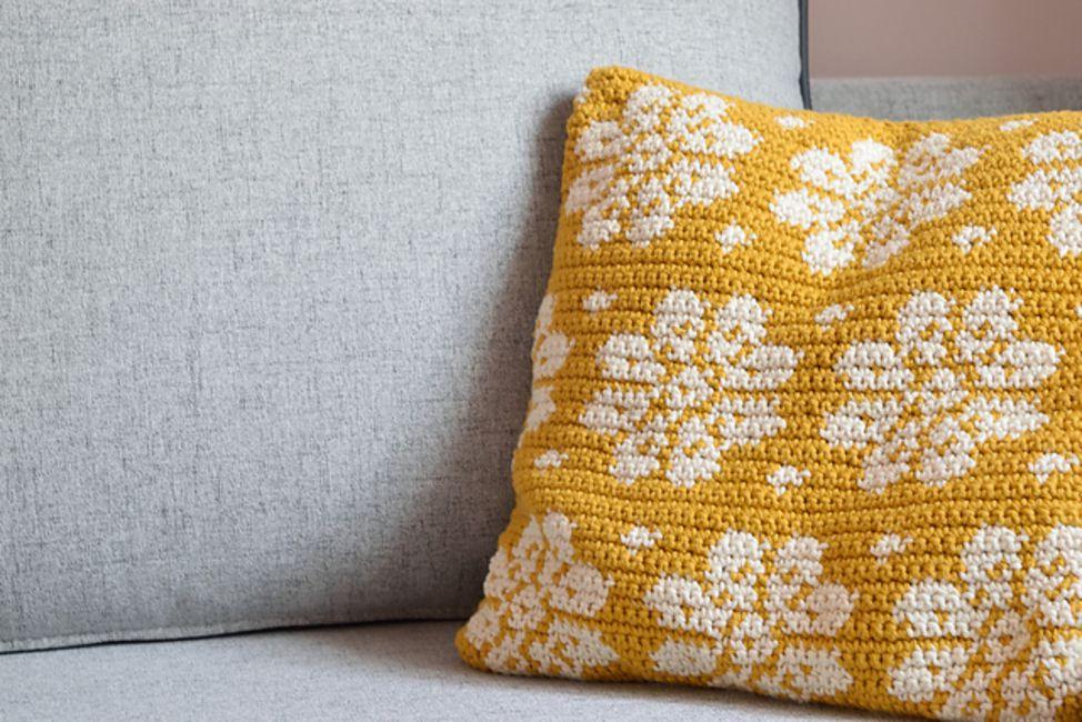 Tapestry Crochet Flower Pillow Free Pattern