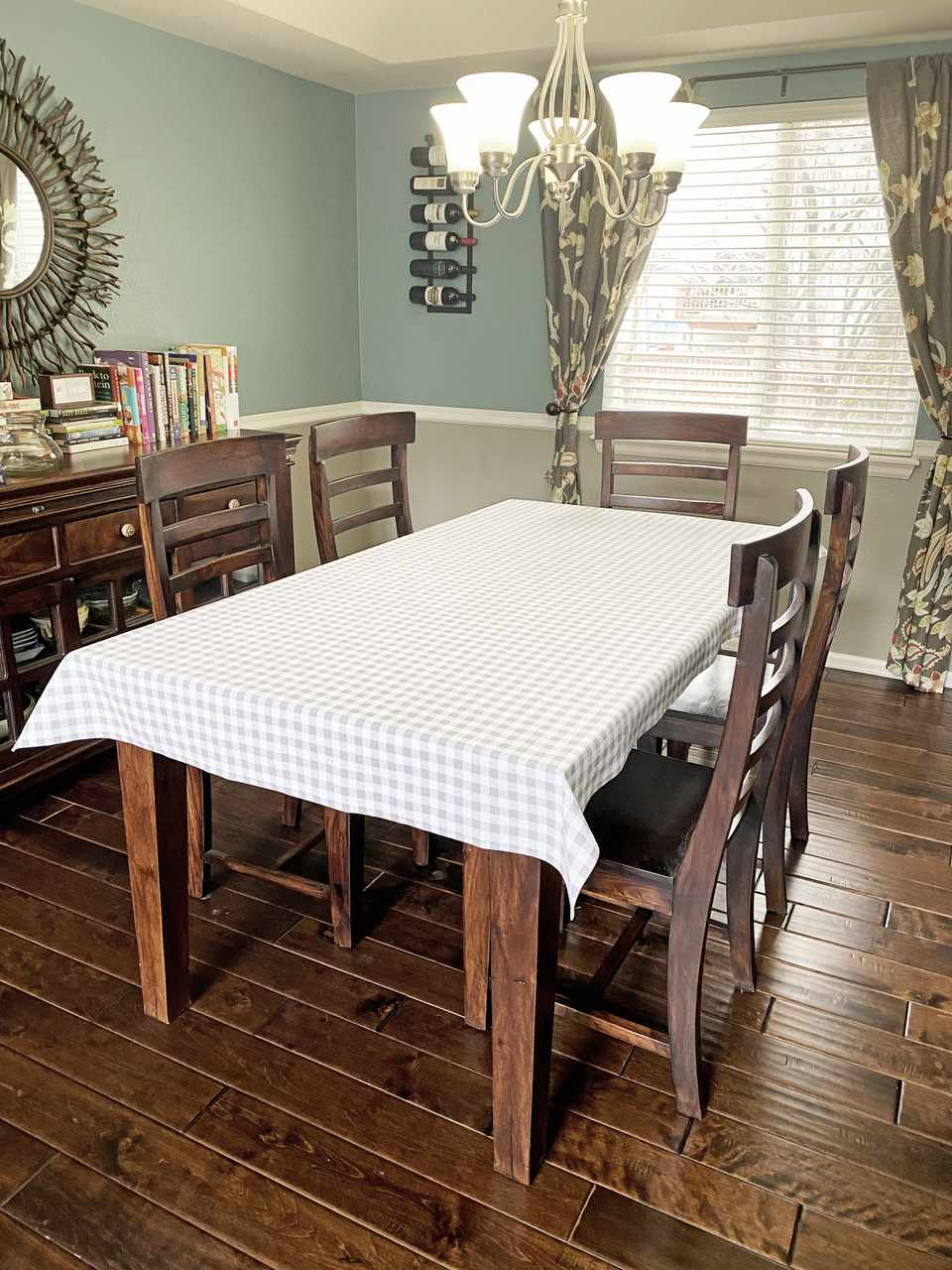 A custom table cloth in a dining room