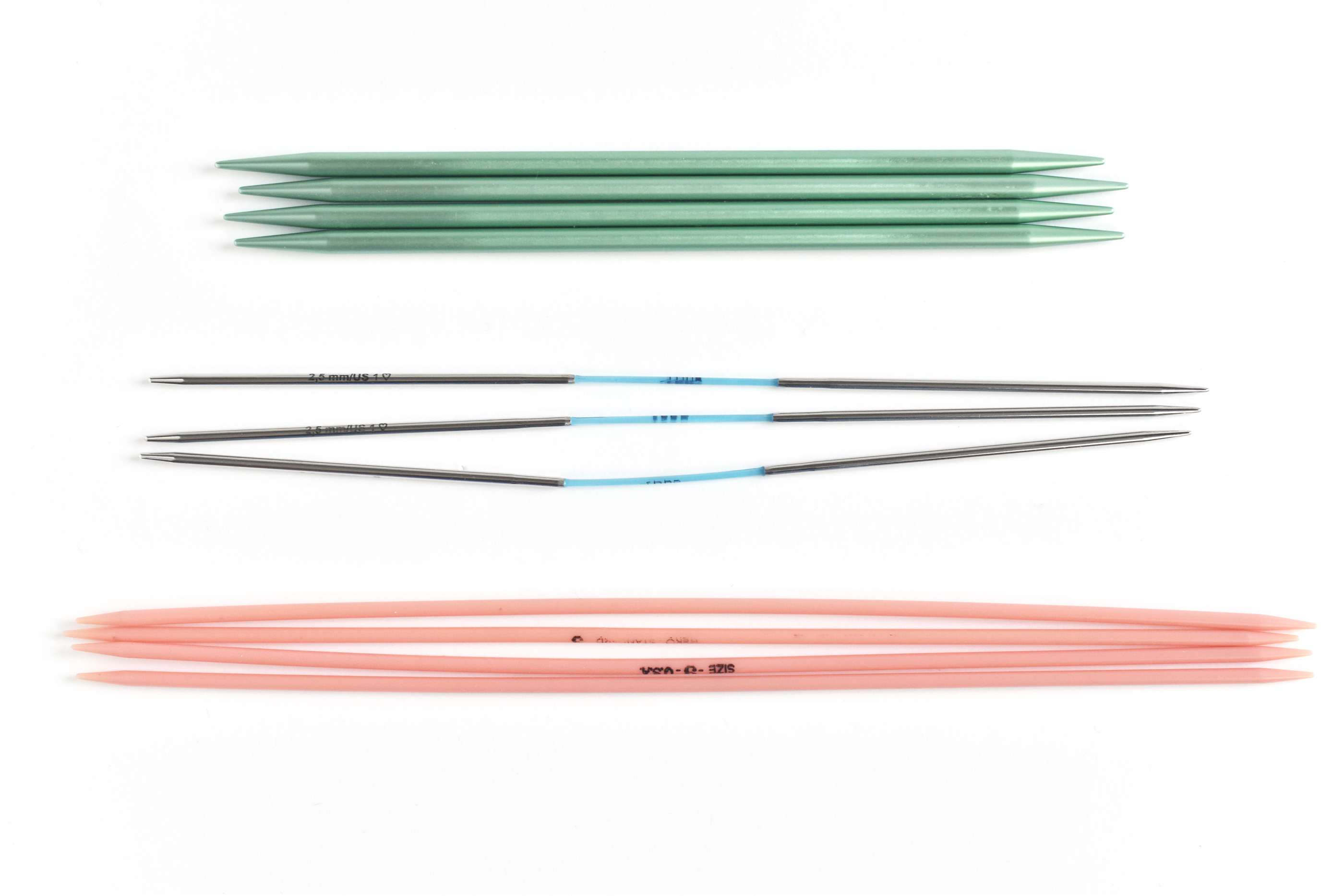 Three Styles of Double Pointed Knitting Needles