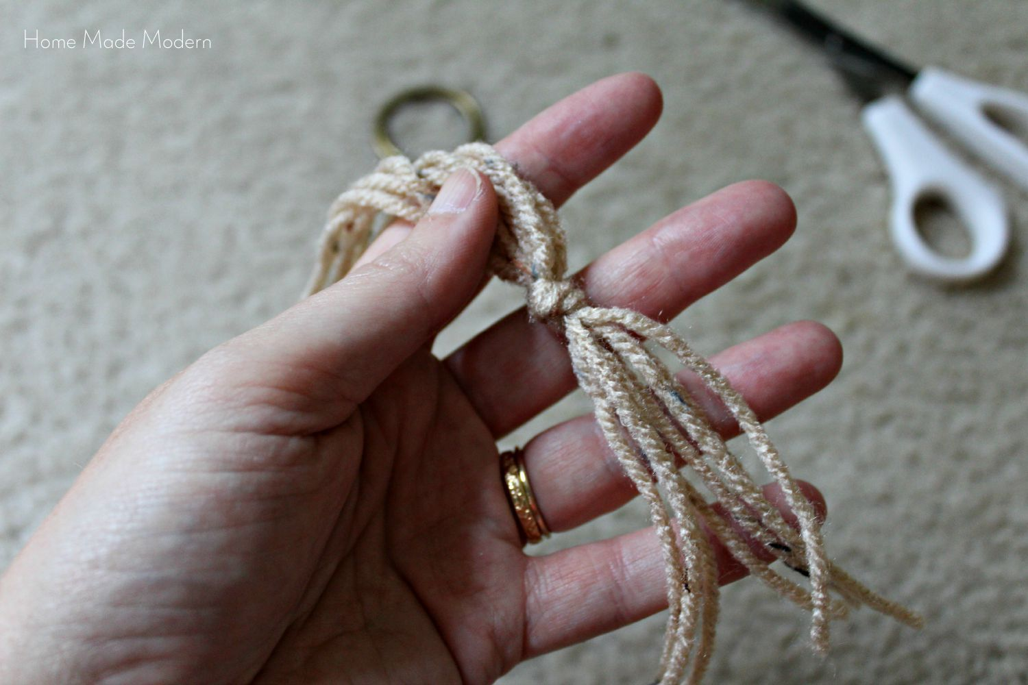 Making a knot for the macrame hanging plant holder