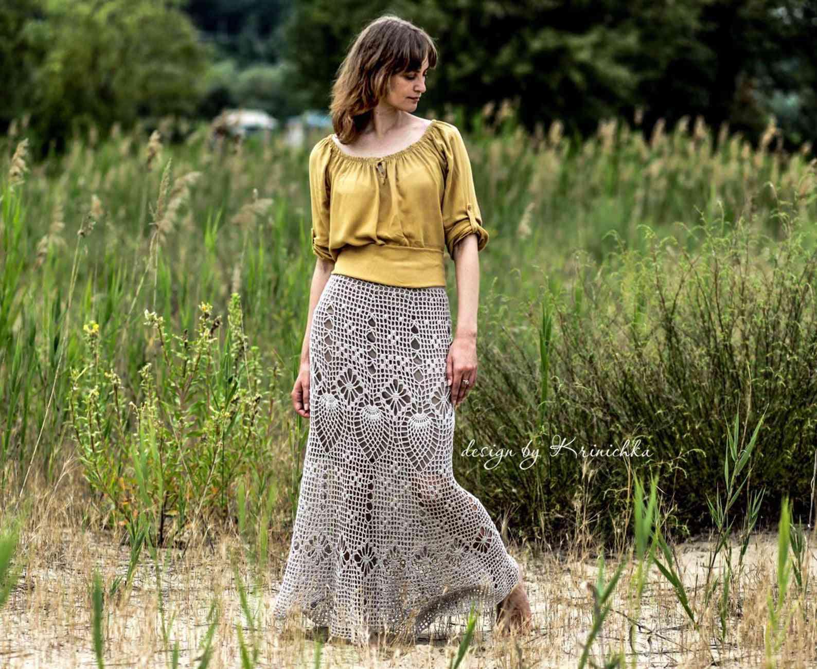 Bohemian Pineapple Stitch Maxi Skirt Crochet Pattern