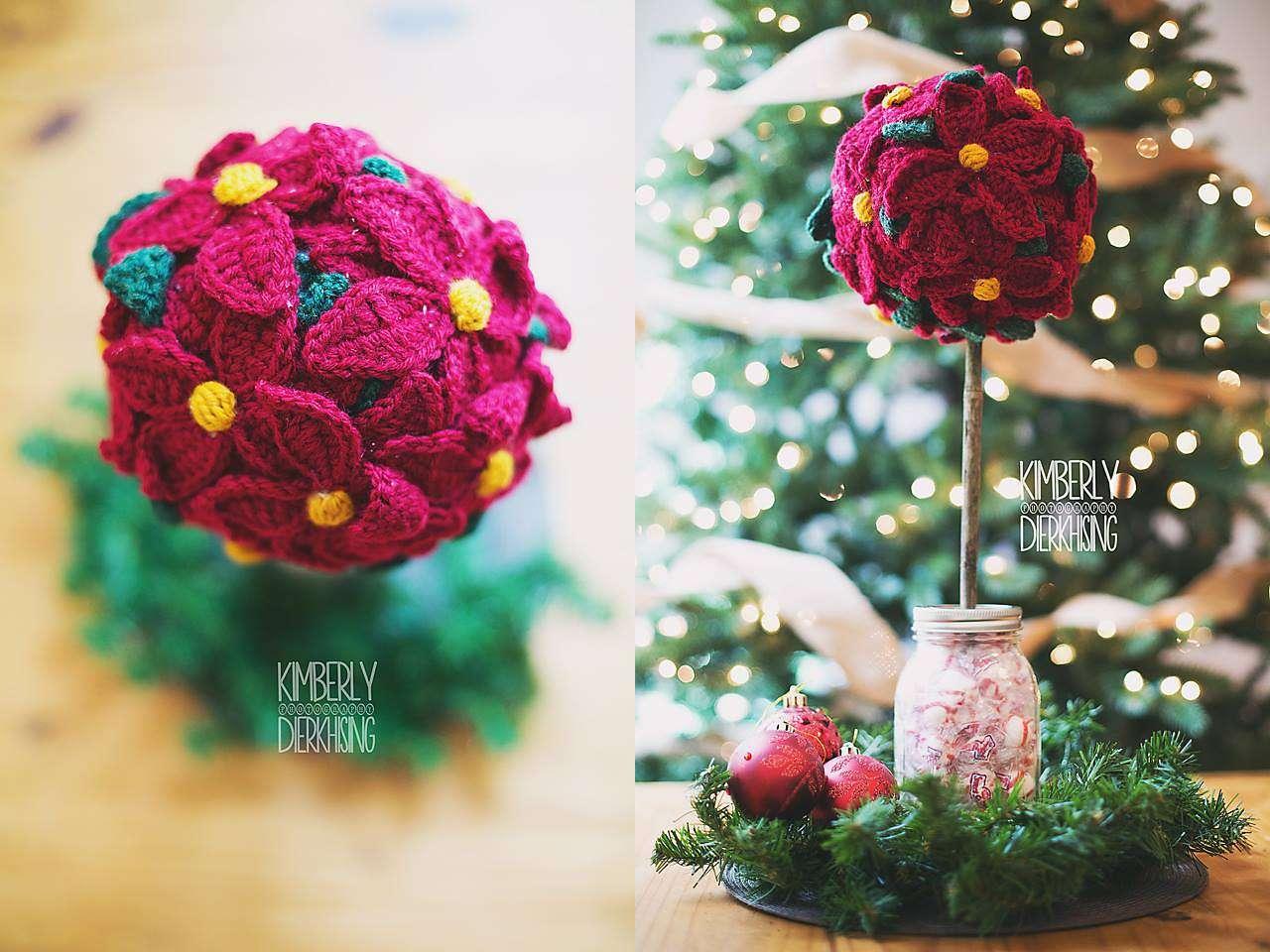 Poinsettia Topiary Crochet Pattern