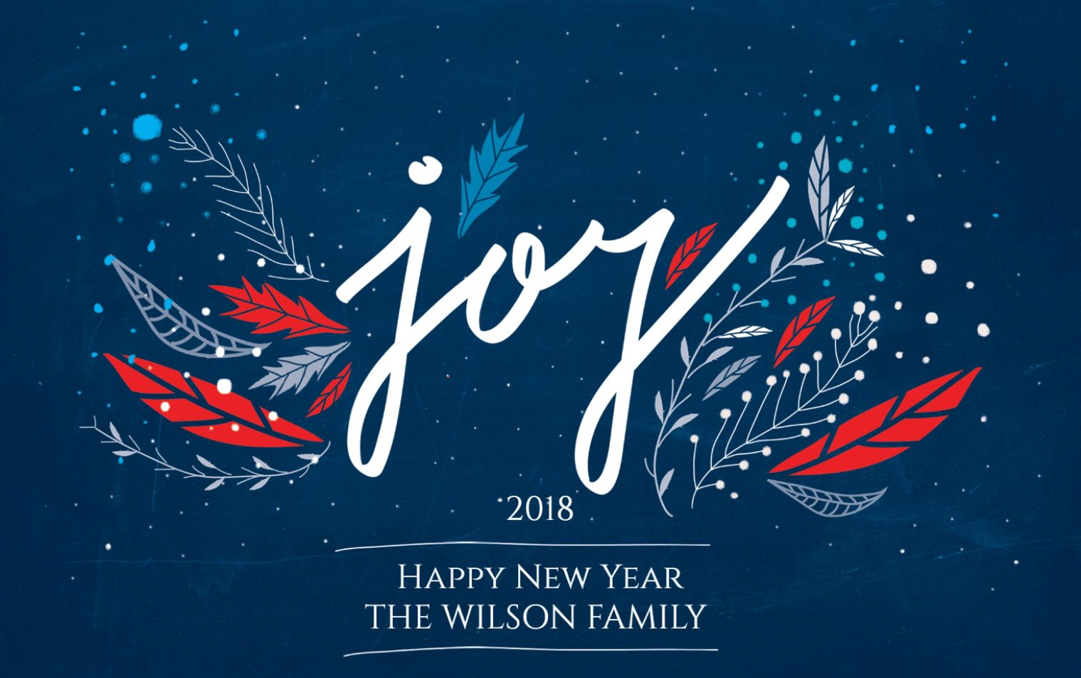 a blue red and white new years card