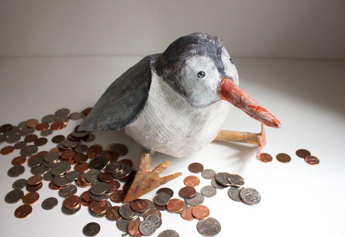 Papier mache bird coin bank