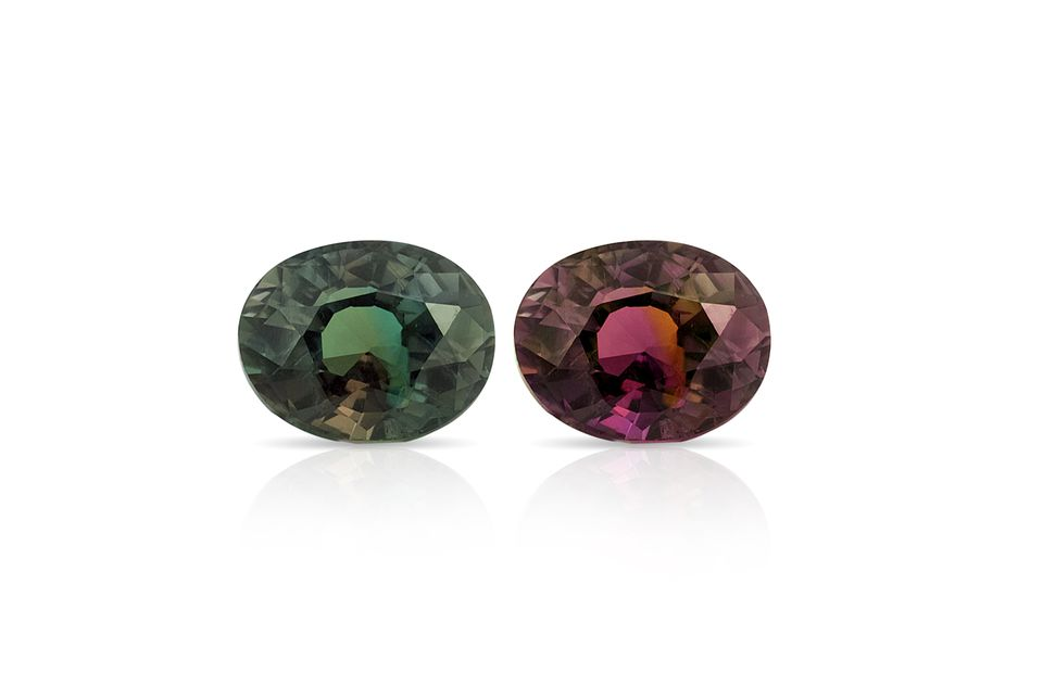 Two alexandrite gemstones