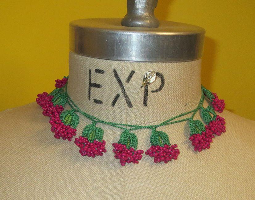 Beaded Turkish crochet necklace free pattern