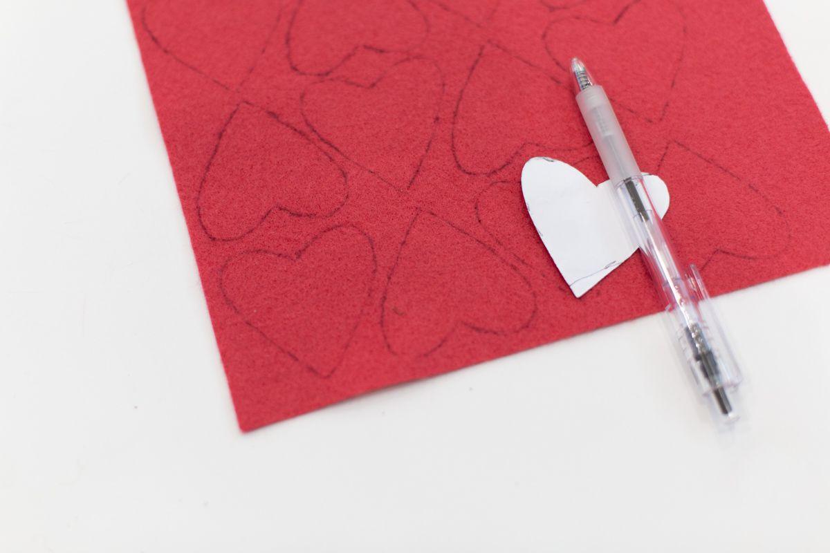 Felt traced hearts