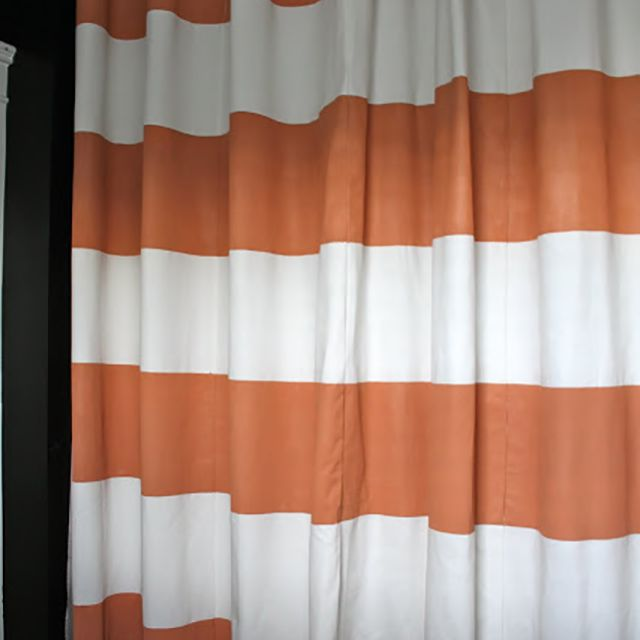 Painted orange stripe DIY show curtain
