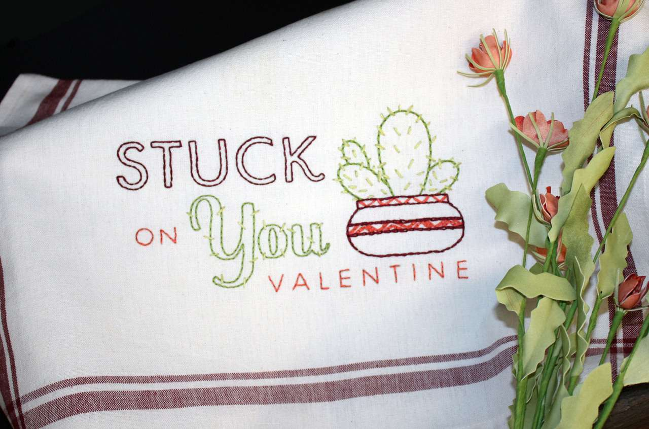 Stuck on You Valentine Cactus Embroidery Pattern