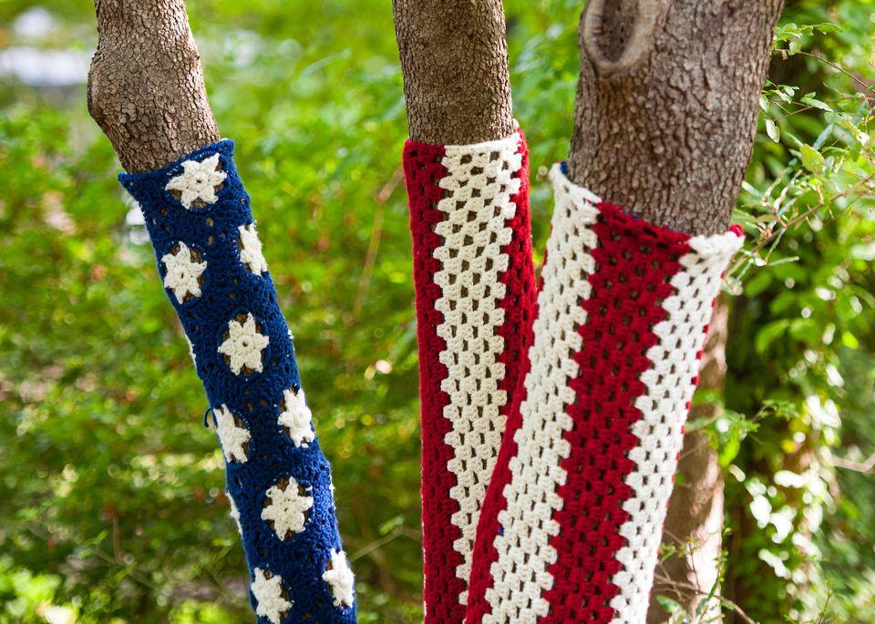 Crochet American Flag Tree Cozy