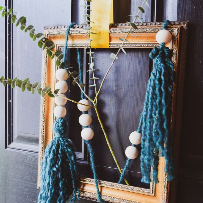 boho picture frame made from a vintage picture frame