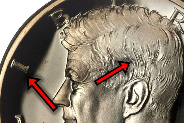 A 1964 Proof Kennedy Half-Dollar Accented Hair Variety detailed close-up