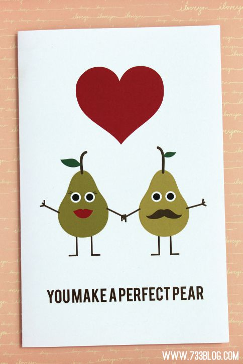 """An anniversary card with pears that says """"You Make a Perfect Pair"""""""