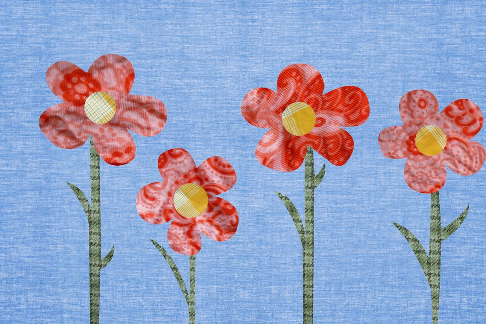 Applique of flowers with a blue background