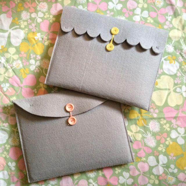 Gray felt laptop cases