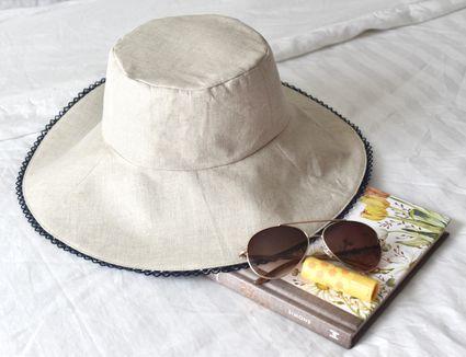 DIY linen sun hat