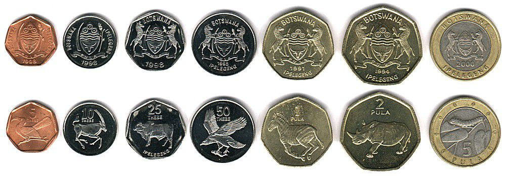 These coins are currently circulating in Botswana as money.
