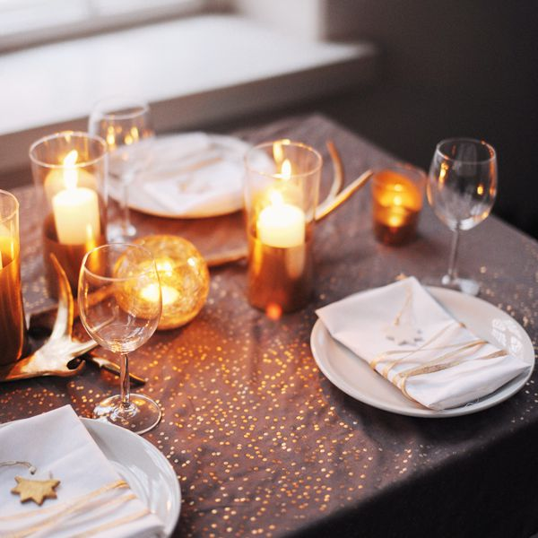 DIY Gold Christmas Candle Holders
