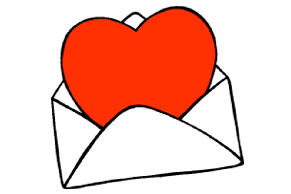 Screenshot of red heart clip art in an envelope