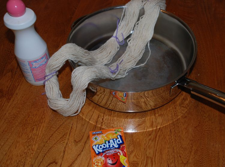 Supplies for dyeing yarn with Kool-Aid