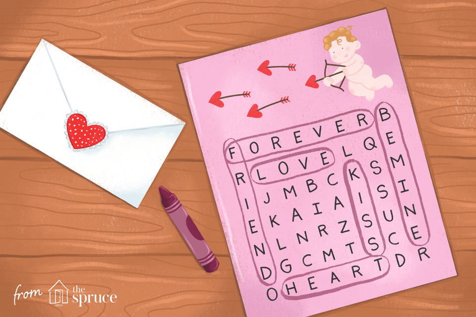 Illustration of Valentine's Day crossword