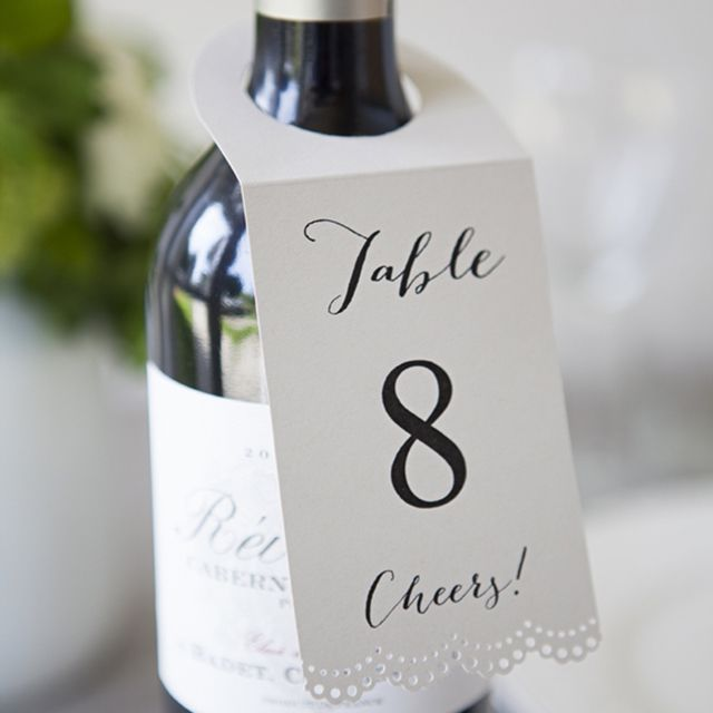 wine bottle hang tag table numbers