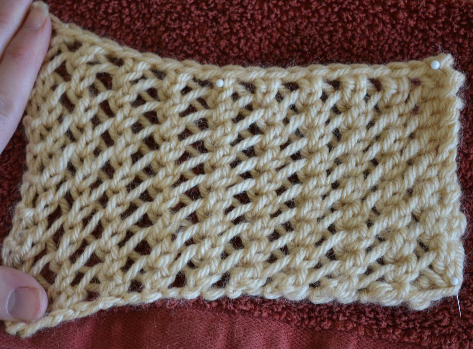 Faggoting lace is a collection of simple lace stitches using yarn overs and decreases and not much else.