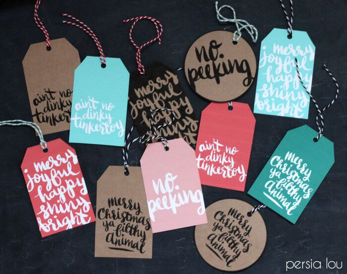 Hand-lettered gift tags