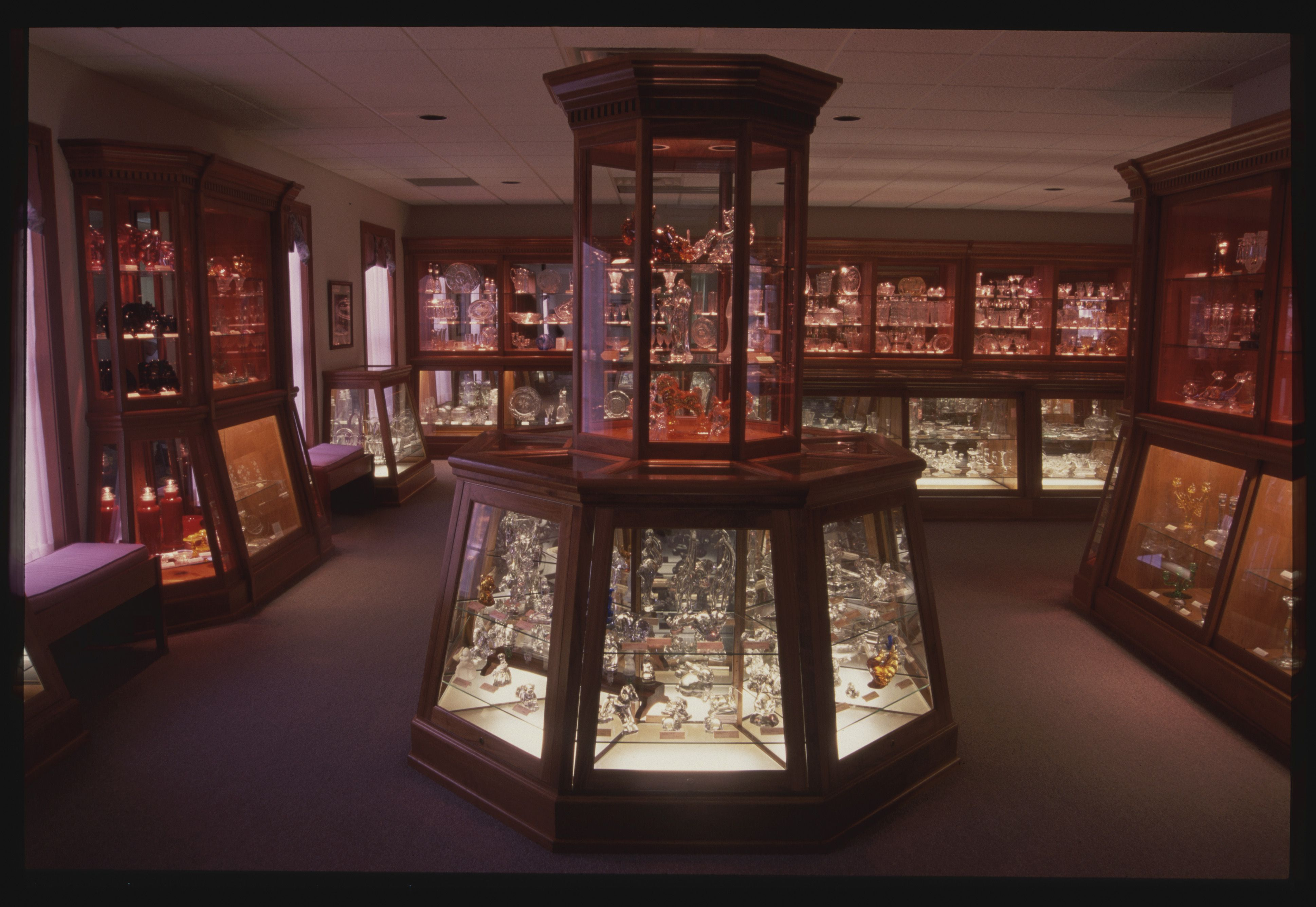Displays at the National Heisey Glass Museum