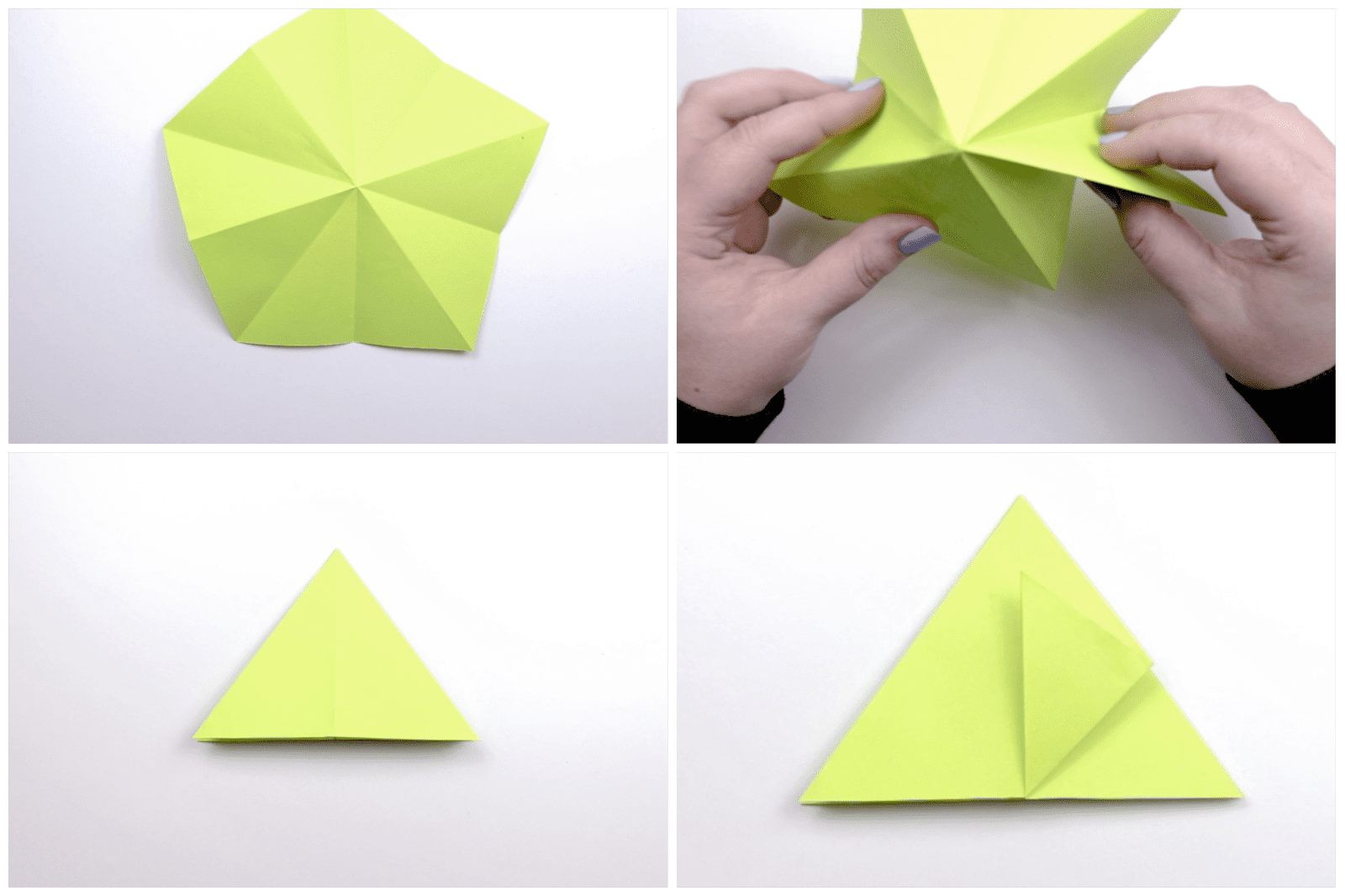 Fold the paper so it forms a triangle shape.