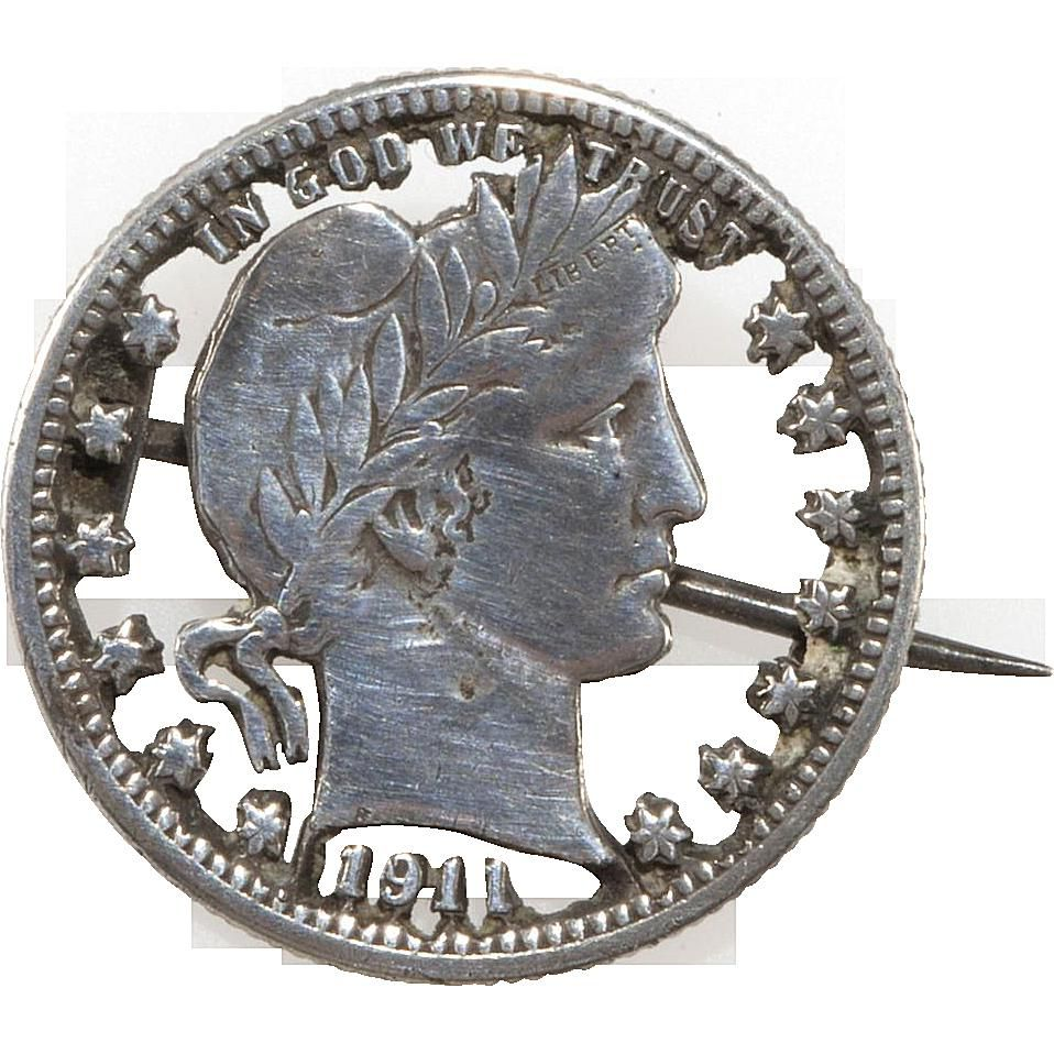 Edwardian Barber Quarter Cut-Out Brooch, c. 1911